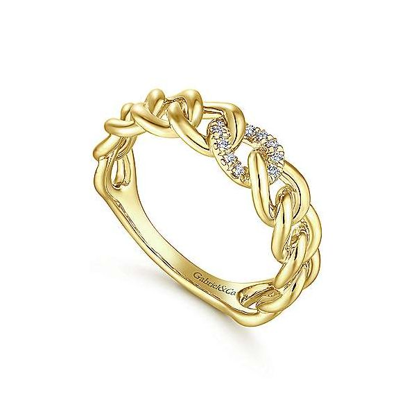 Diamond & Gold Link Fashion Ring Image 2 Carter's Jewelry, Inc. Petal, MS