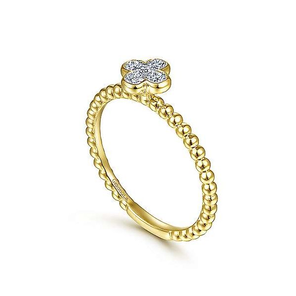 Diamond Cluster Clover and Bujukan Bead Ring Image 2 Carter's Jewelry, Inc. Petal, MS