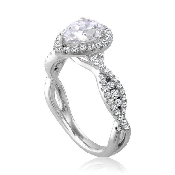 Pear Diamond Halo Twisted Shank Semi Mounted Engagement Ring Image 2 Carter's Jewelry, Inc. Petal, MS