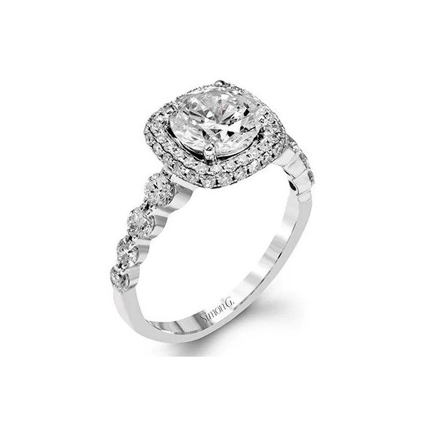 Simon G Pave Cushion Halo Shared Prong Semi Mounted Engagement Ring Carter's Jewelry, Inc. Petal, MS