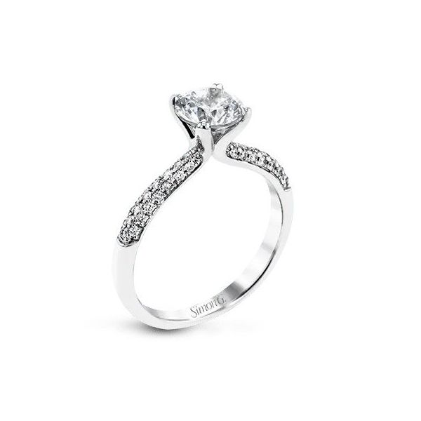 Simon G Micro Pave Diamond Solitaire Semi Mounted Engagement Ring Carter S Jewelry Inc Petal Ms