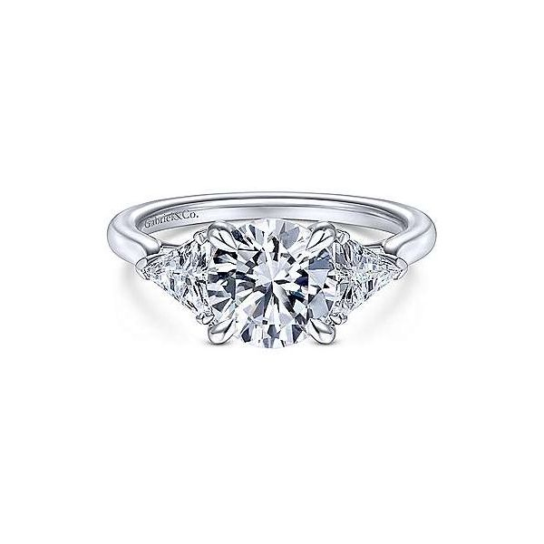 Trillion Accent Stone Semi Mount Engagement Ring (DOES NOT INCLUDE CENTER STONE) Carter's Jewelry, Inc. Petal, MS