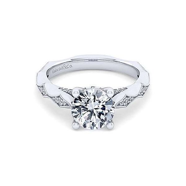 Vintage Inspired Semi Mount Engagement Ring (DOES NOT INCLUDE CENTER STONE) Carter's Jewelry, Inc. Petal, MS