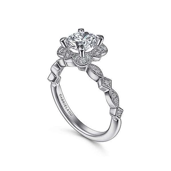 Vintage Inspired Halo Semi Mount Diamond Engagement Ring Image 2 Carter's Jewelry, Inc. Petal, MS