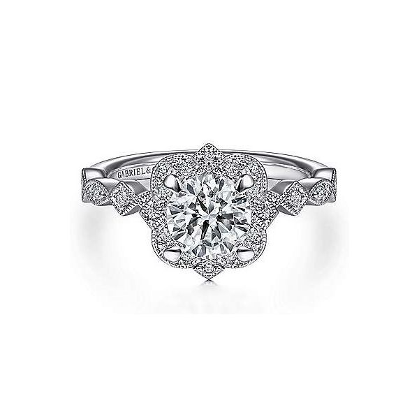 Vintage Inspired Halo Semi Mount Diamond Engagement Ring Carter's Jewelry, Inc. Petal, MS