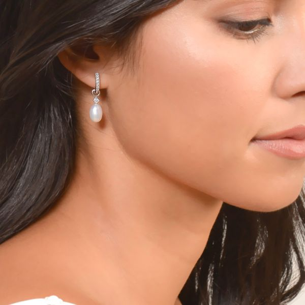 White Pearl Briolette Earring Charm (Single Charm / Hoop Not Included) Image 2 Carter's Jewelry, Inc. Petal, MS