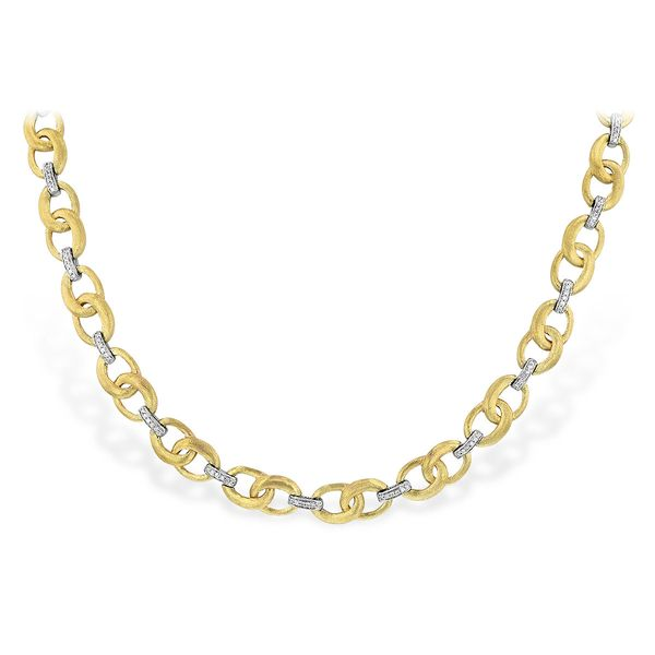 Diamond & Satin Finish Gold Link Necklace Carter's Jewelry, Inc. Petal, MS