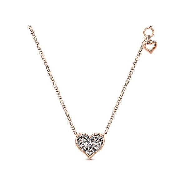 Pave Diamond Heart Necklace with Dangle Station Heart Carter's Jewelry, Inc. Petal, MS