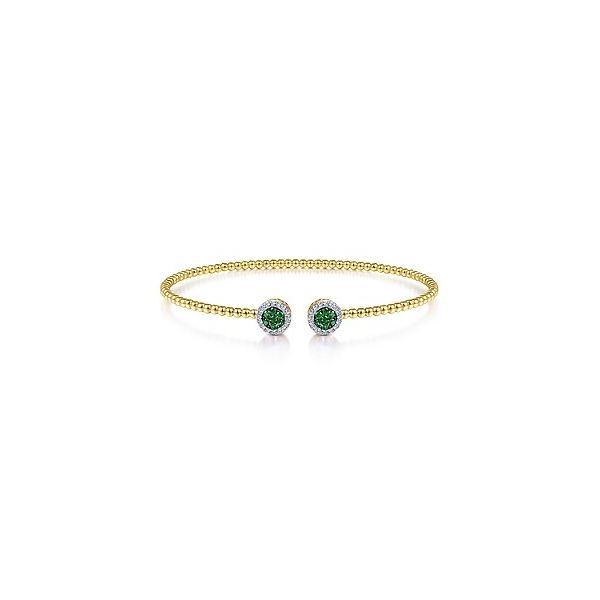 Bujukan Bead Cuff Bracelet with Emerald and Diamond Halo Accents Carter's Jewelry, Inc. Petal, MS