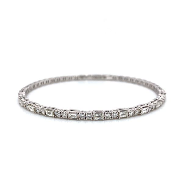 Christopher Designs Crisscut Cushion Alternating Diamond Flex Bangle Image 2 Carter's Jewelry, Inc. Petal, MS