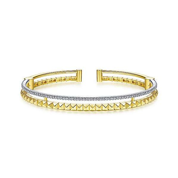 Two Tone Split Cuff with Pyramids and Diamonds Carter's Jewelry, Inc. Petal, MS