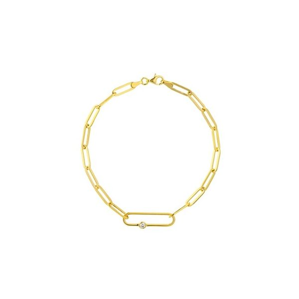 Elongated Bezel Diamond Link Paperclip Bracelet Carter's Jewelry, Inc. Petal, MS