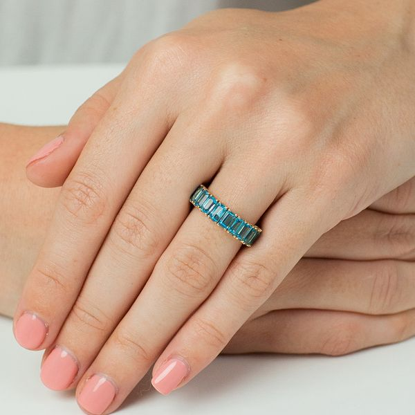 Emerald Cut Blue Topaz Half Eternity Band Carter's Jewelry, Inc. Petal, MS