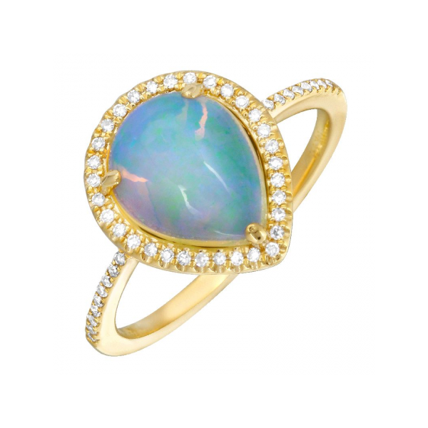 Pear Shape Opal Diamond Halo Ring Image 2 Carter's Jewelry, Inc. Petal, MS