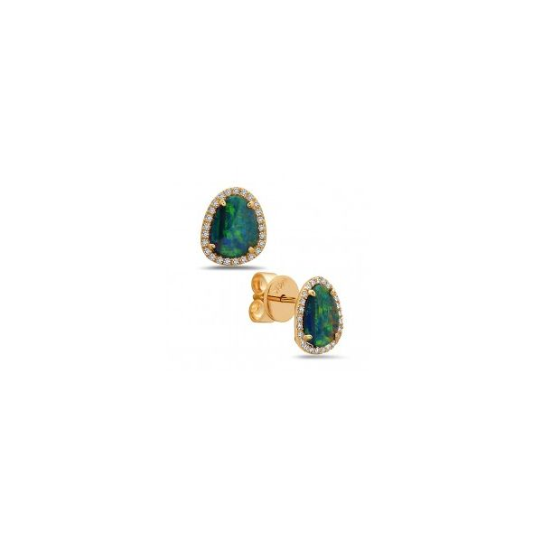 Black Opal Doublet Diamond Halo Stud Earrings Carter's Jewelry, Inc. Petal, MS