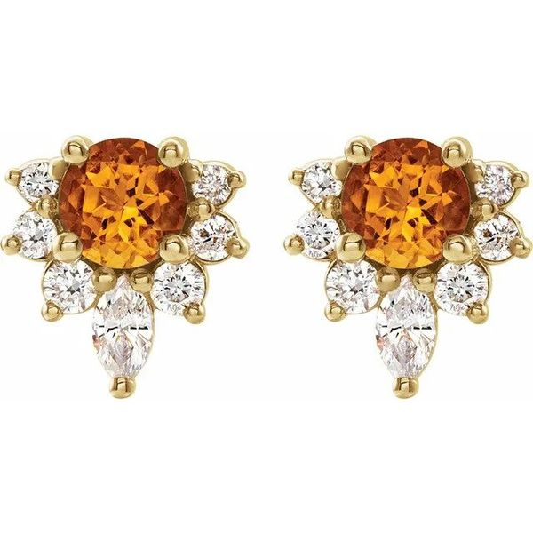 Abstract Citrine and Diamond Earrings Carter's Jewelry, Inc. Petal, MS