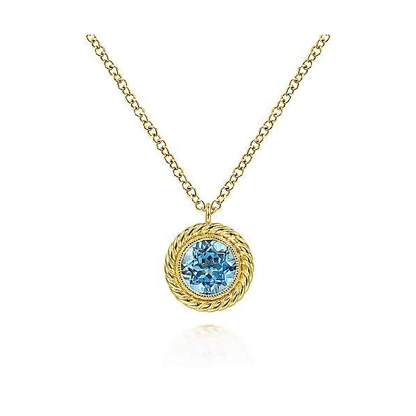 Blue Topaz and Twisted Rope Pendant Necklace Carter's Jewelry, Inc. Petal, MS
