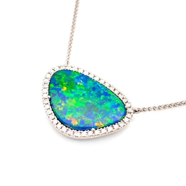 Australian Opal Diamond Halo Necklace Image 2 Carter's Jewelry, Inc. Petal, MS