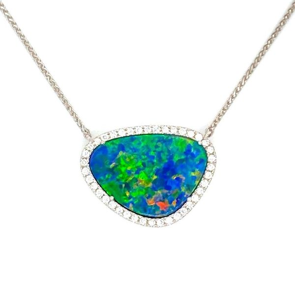 Australian Opal Diamond Halo Necklace Carter's Jewelry, Inc. Petal, MS