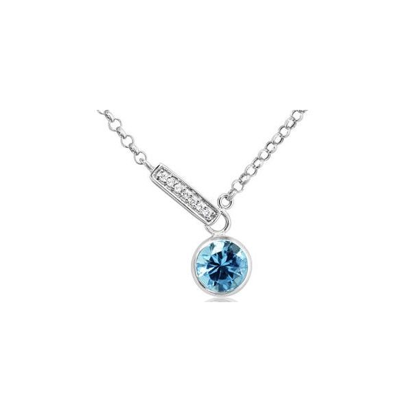 Blue Topaz Bezel & Diamond Accented Necklace Carter's Jewelry, Inc. Petal, MS