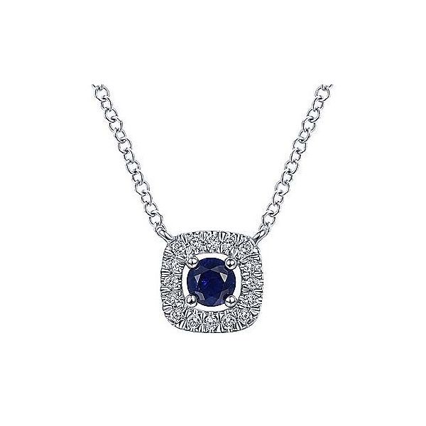 Round Sapphire Cushion Diamond Halo Necklace Carter's Jewelry, Inc. Petal, MS