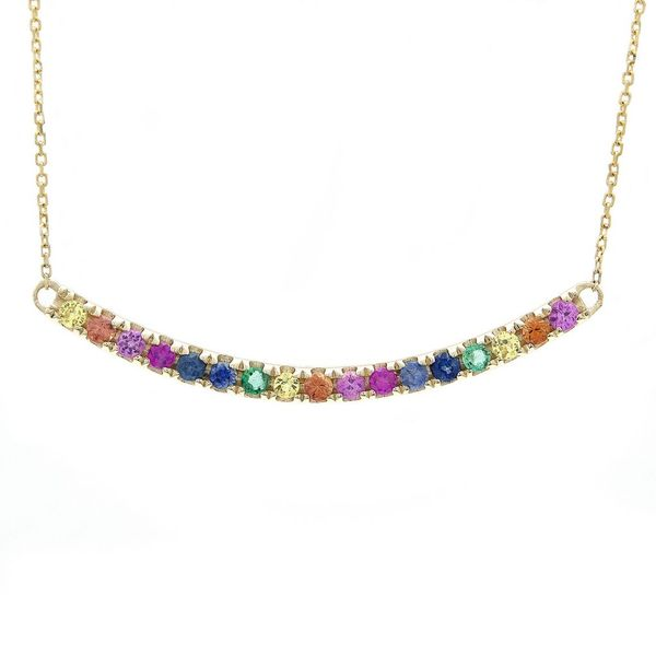 Rainbow Sapphire Curved Bar Necklace Carter's Jewelry, Inc. Petal, MS