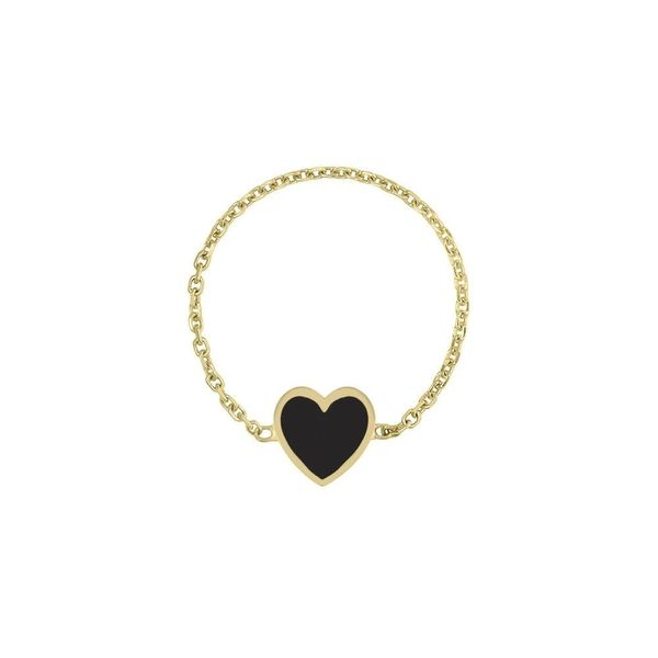Mini Enamel Heart Chain Ring in Black Carter's Jewelry, Inc. Petal, MS