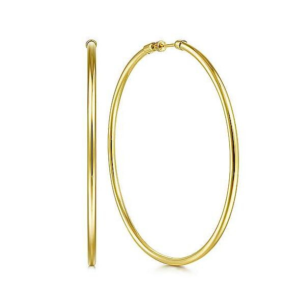 Yellow Gold Solid Hoop Earrings Carter's Jewelry, Inc. Petal, MS