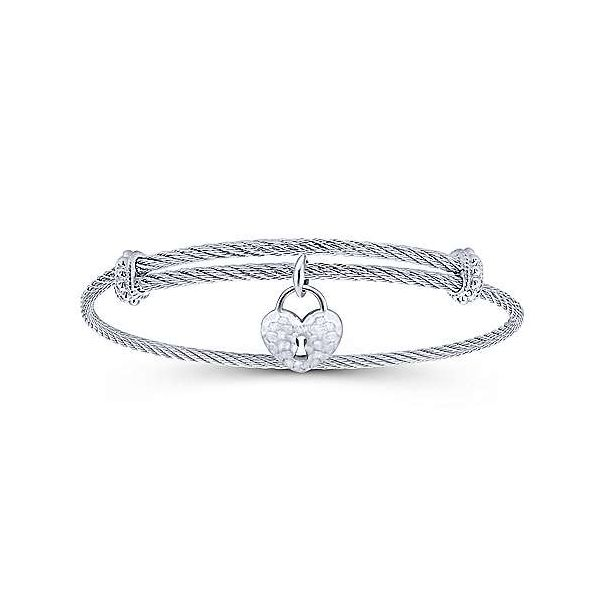 Adjustable Stainless Steel Cable Bangle with Sterling Silver Heart Lock Charm Carter's Jewelry, Inc. Petal, MS