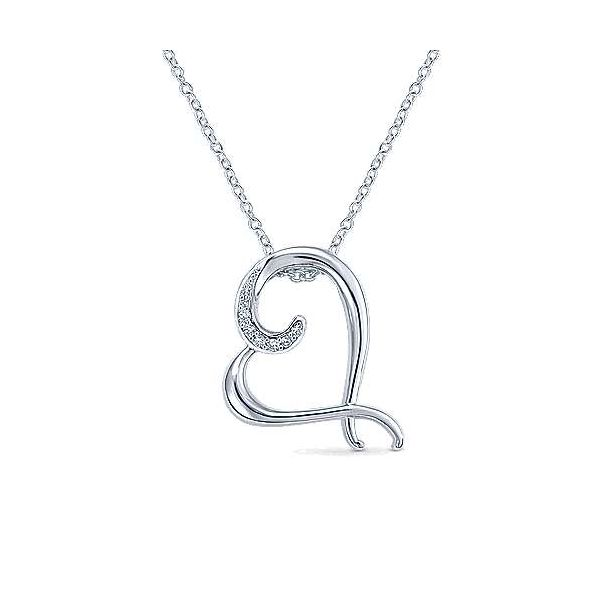 Sterling Silver Angled Open Heart Diamond Necklace Carter's Jewelry, Inc. Petal, MS