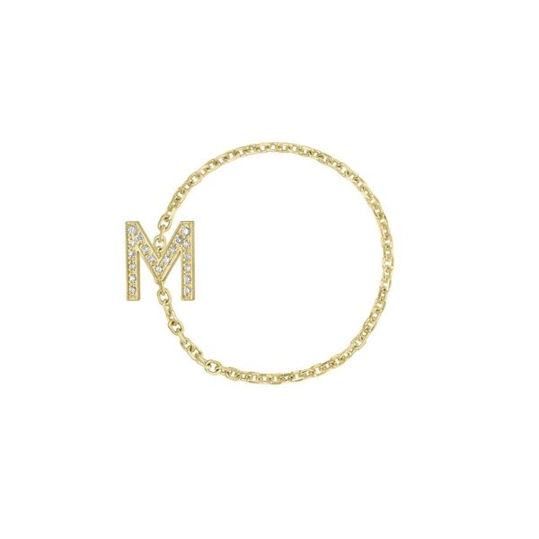 Mini Pave Letter Chain Ring in Letter C Carter's Jewelry, Inc. Petal, MS