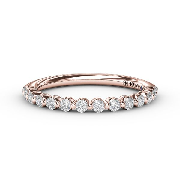 14K Rose Gold Single Prong Diamond Wedding Band Champaign Jewelers Champaign, IL