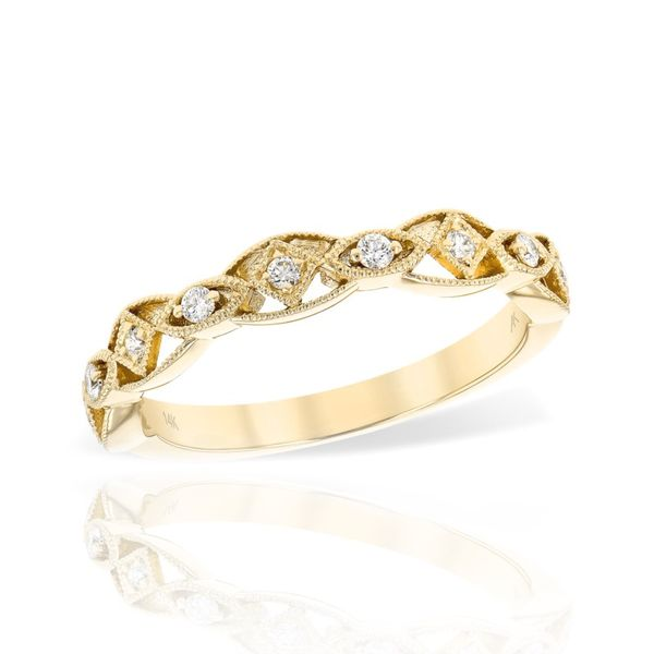 14 Karat Yellow Gold Filigree Diamond Anniversary Ring Champaign Jewelers Champaign, IL