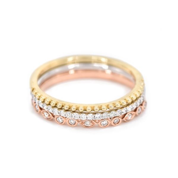 Lady's Tricolor 10 Karat Stackable Diamond Fashion Ring Champaign Jewelers Champaign, IL