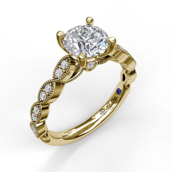 Scallop Engagement Ring Mounting - Yellow Gold Champaign Jewelers Champaign, IL