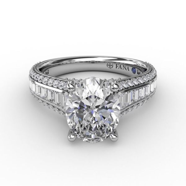 14K Baguette & Round Diamond Channel Engagement Ring Semi-Mount Image 2 Champaign Jewelers Champaign, IL