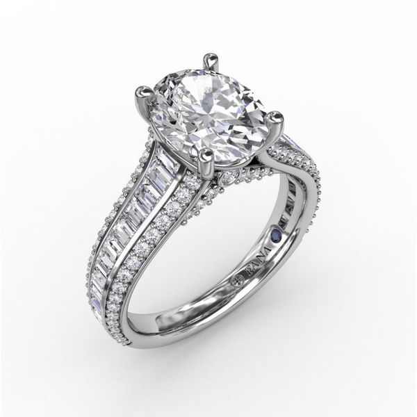 14K Baguette & Round Diamond Channel Engagement Ring Semi-Mount Champaign Jewelers Champaign, IL