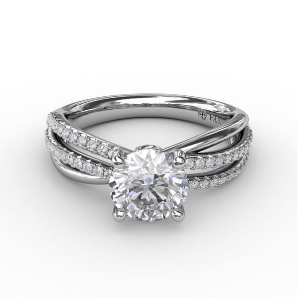 14K Diamond Layered Bands Engagement Ring Semi-Mount Image 2 Champaign Jewelers Champaign, IL