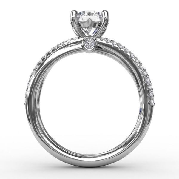 14K Diamond Layered Bands Engagement Ring Semi-Mount Image 3 Champaign Jewelers Champaign, IL
