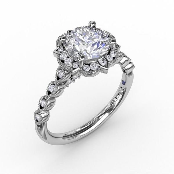 14K Vintage Floral Style Diamond Engagement Ring Semi-Mount Champaign Jewelers Champaign, IL