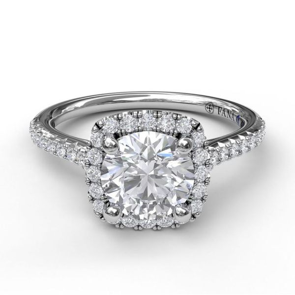 14K Cushion Halo Diamond Semi-Mount Ring Image 2 Champaign Jewelers Champaign, IL