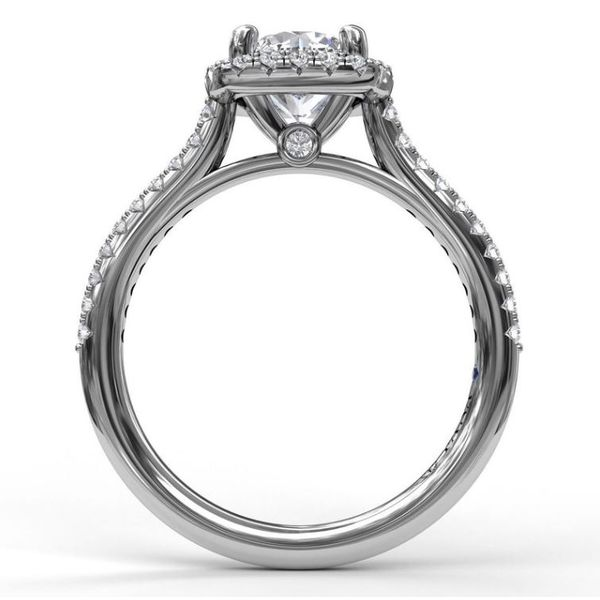 14K Cushion Halo Diamond Semi-Mount Ring Image 3 Champaign Jewelers Champaign, IL