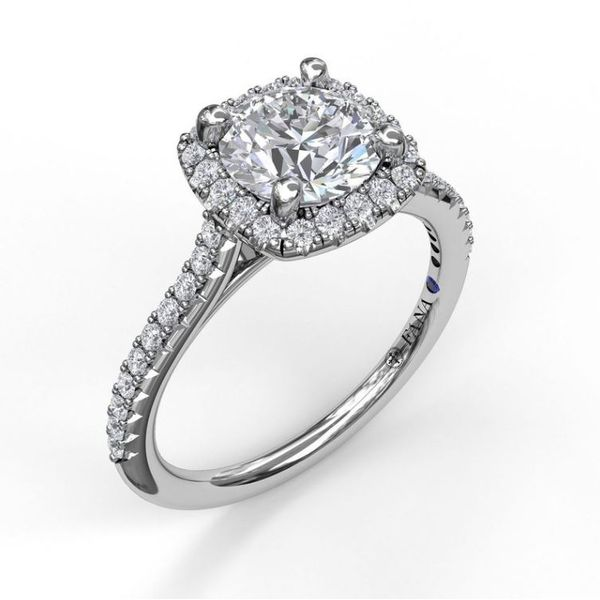 14K Cushion Halo Diamond Semi-Mount Ring Champaign Jewelers Champaign, IL