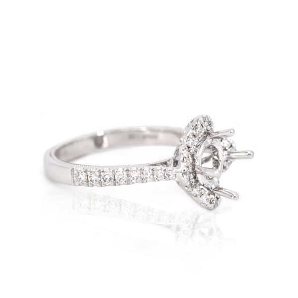 14K White Gold Diamond Kite Halo Semi-Mount Ring Image 2 Champaign Jewelers Champaign, IL