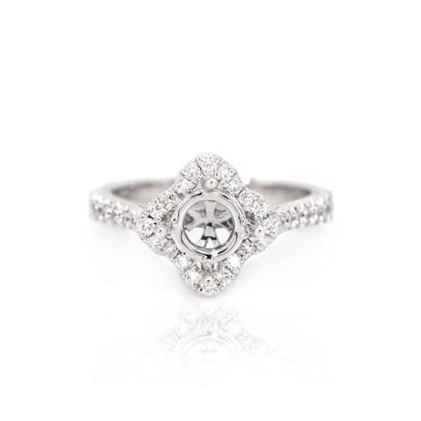 14K White Gold Diamond Kite Halo Semi-Mount Ring Champaign Jewelers Champaign, IL