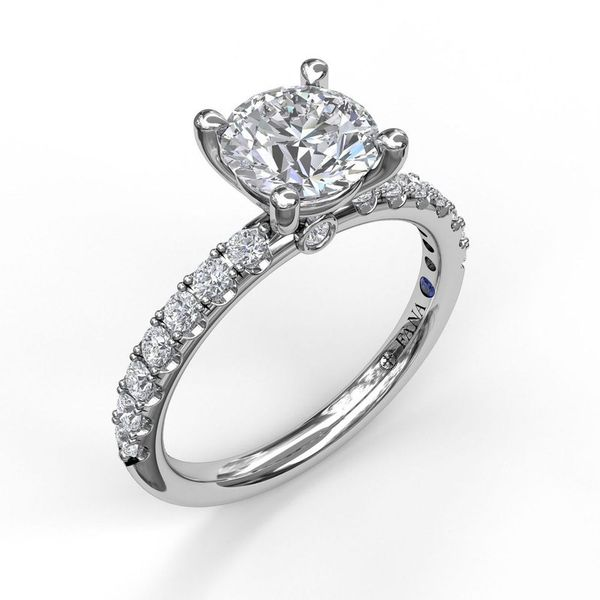 14K Shared Prong Diamond Semi Mount Engagement Ring Champaign Jewelers Champaign, IL
