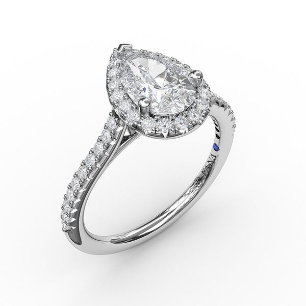 14K Pear Diamond Halo Engagement Ring Mounting Champaign Jewelers Champaign, IL