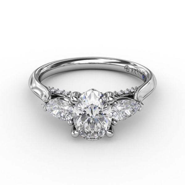 14K Three Stone Pears Diamond Engagement Ring Mounting Image 2 Champaign Jewelers Champaign, IL