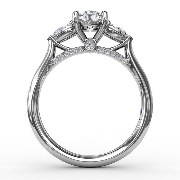 14K Three Stone Pears Diamond Engagement Ring Mounting Image 3 Champaign Jewelers Champaign, IL
