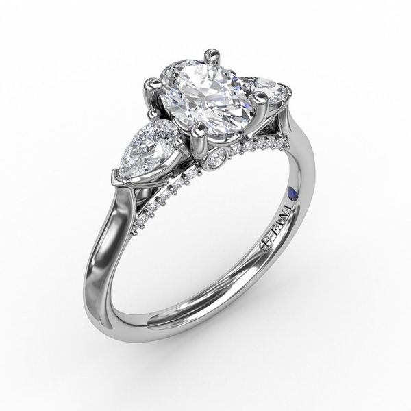 14K Three Stone Pears Diamond Engagement Ring Mounting Champaign Jewelers Champaign, IL